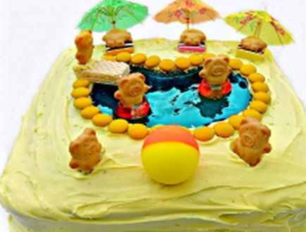 We love Tiny Teddies and you won't be able to wait to make this swimming pool.  This cake is super easy to make!