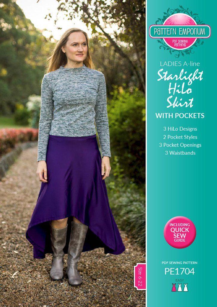 Starlight HiLo Skirt Pattern - A stretch knit skirt pattern by Pattern Emporium