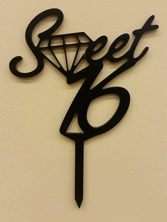Sweet 16 Diamond Cake Topper by SugarGramsDecor on Etsy