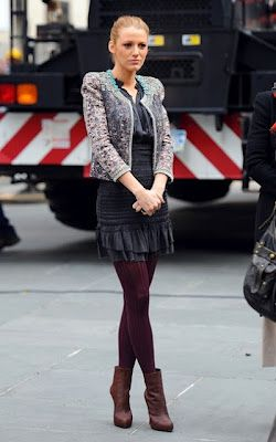 Yes, it's chilly but you can still look cute and fashionable like Blake Lively. Try on a dress or skirt with knitted tights for warmth and booties for height.