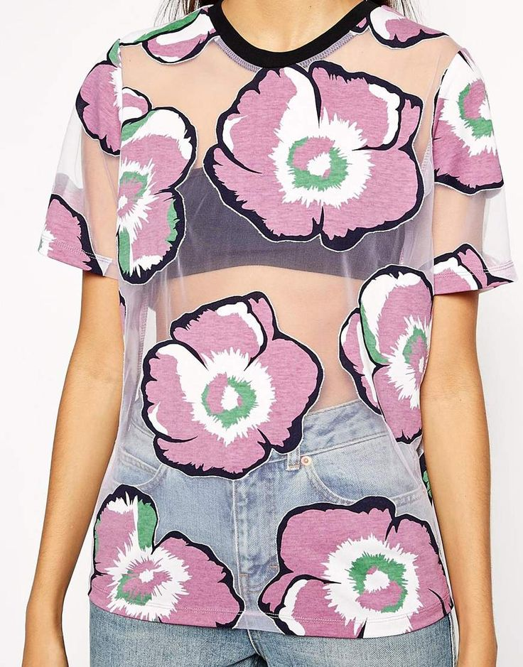 Image 3 of ASOS Top with Large Floral Burnout