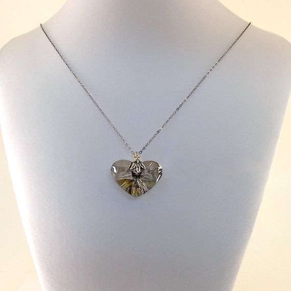 Wedding Necklace Black Diamond Heart Necklace by CinLynnBoutique, $40.00