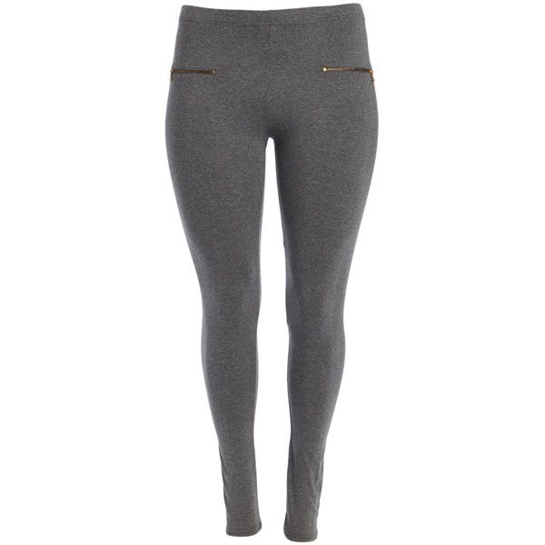Alisha Chloe Charcoal Gray Dual Zipper-Accent Leggings ($14) ❤ liked on Polyvore featuring plus size women's fashion, plus size clothing, plus size pants, plus size leggings, plus size, charcoal grey pants, legging pants, charcoal grey leggings and women's plus size pants