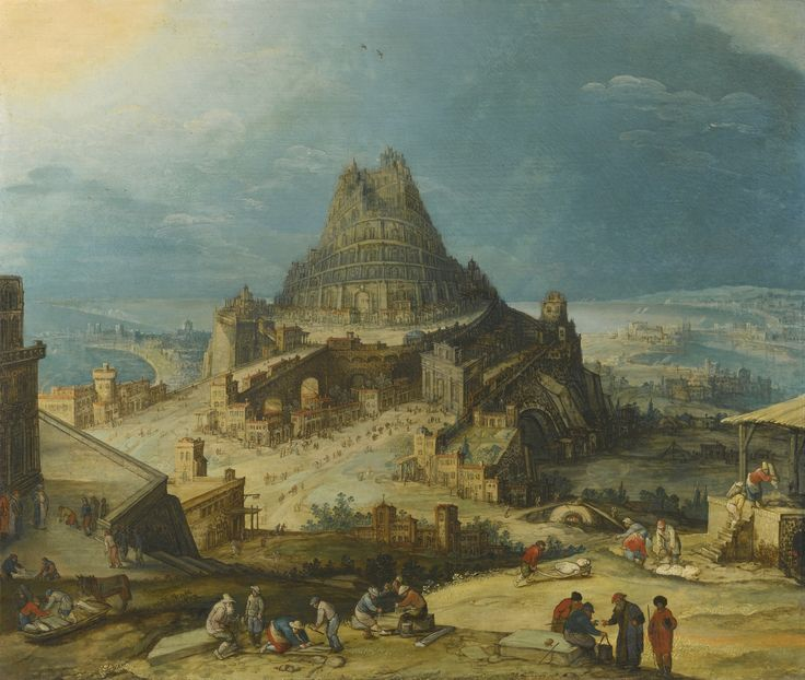 Hendrik van Cleve III ANTWERP CIRCA 1525 - BETWEEN 1590/95 THE TOWER OF BABEL oil on marouflaged oak panel 60.5 by 71.5 cm.; 23 3/4  by 28 1/4  in.: