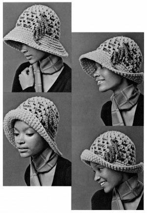 Vintage 1960's Wide Brim Cloche Hat Crochet Pattern 0745: $3.50