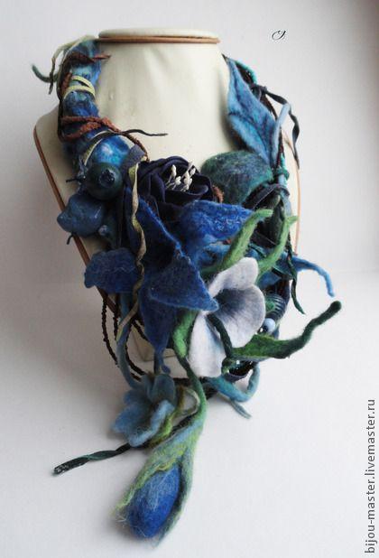 'ГРОЗОВЫЕ ОБЛАКА' - бусы  материалы: авторский войлок ручного валяния (100% меринос), чешский бисер, замша и кожа, металл, цветок из флористической глины.