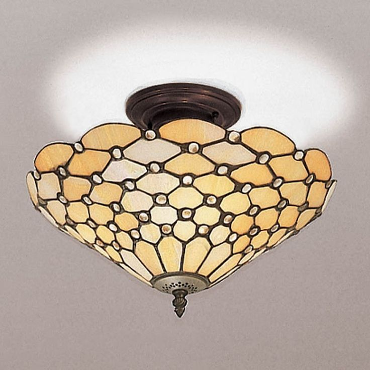 Lampada da Soffitto / Plafoniera Tiffany Gialla Classica