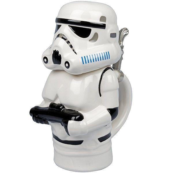 Star Wars Stormtrooper 22oz Stein - Collectible Ceramic Mug with Metal Hinge