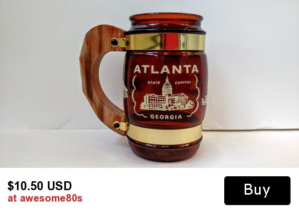 awesome retro siesta ware Atlanta, Georgia amber barrel mug with wood handle