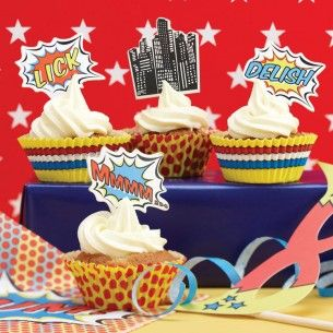 Superhero Pop Art Party Cupcake Kit