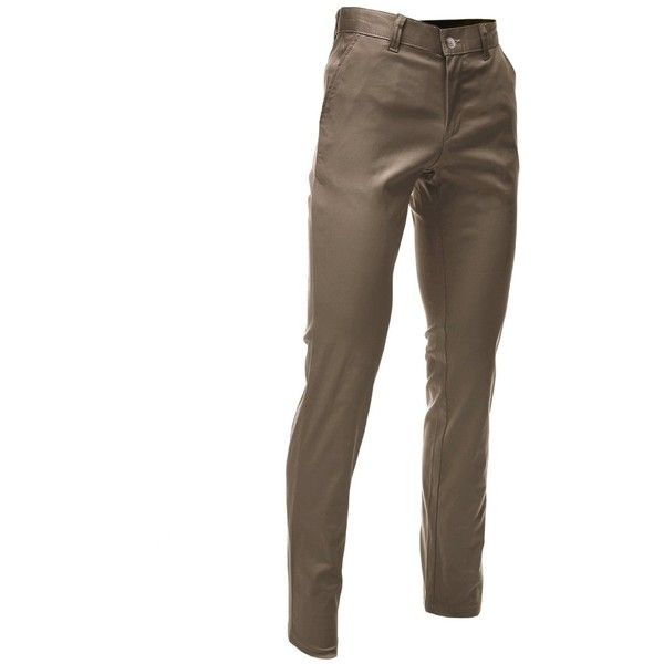 FLATSEVEN Mens Slim Fit Chino Pants Trouser Premium Cotton ($30) ❤ liked on Polyvore featuring men's fashion, men's clothing, men's pants, men's casual pants, mens chino pants, mens slim fit pants, mens slim pants, mens cotton pants and mens chinos pants