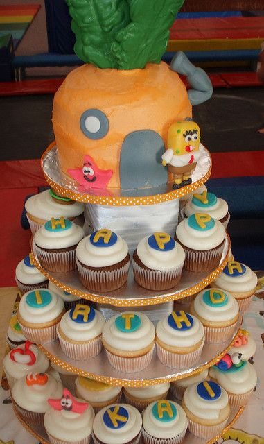 Sponge Bob Cupcake tower by Made By Jessica, via Flickr