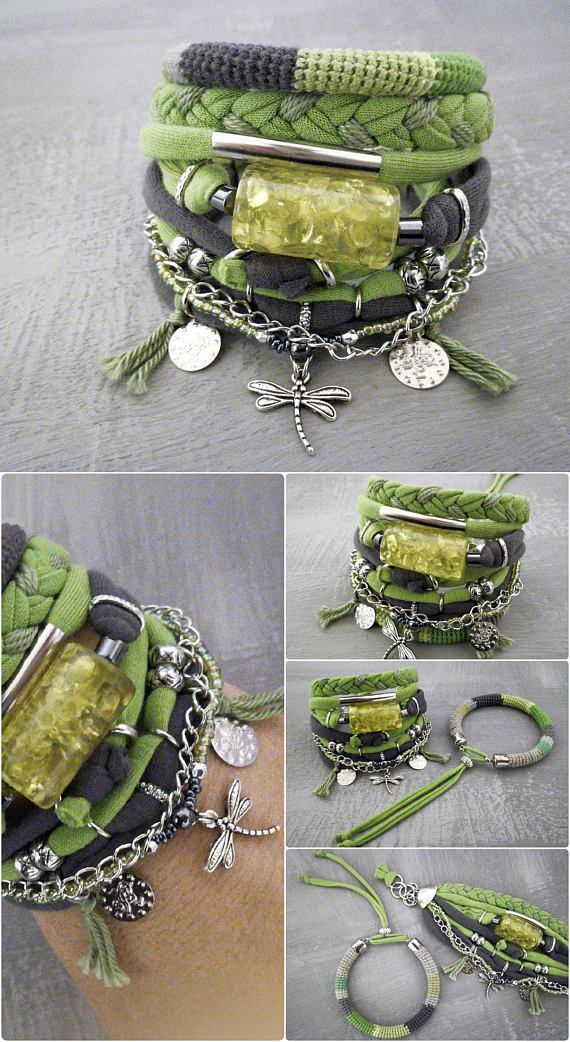 Green Gray Bohemian Bracelet Lime Green Boho Bracelet Set