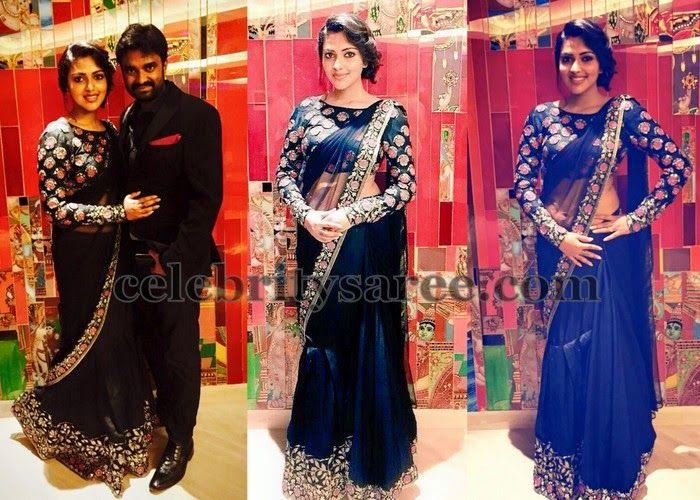 Amala Paul in Blue Designer Saree | Saree Blouse Patterns