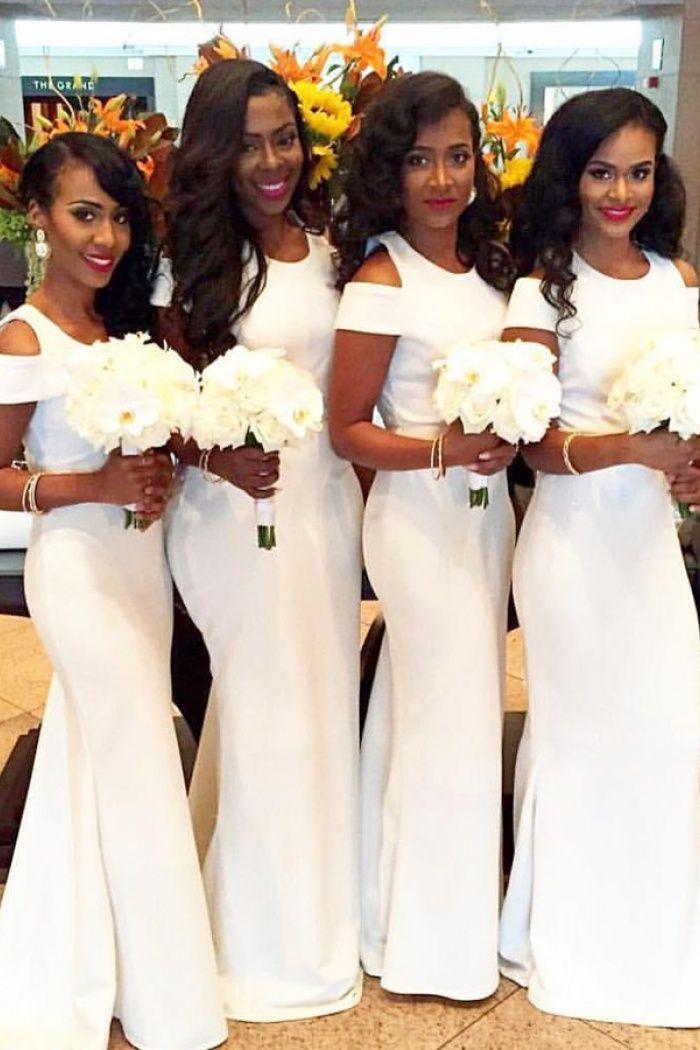 7ea81a528e8 Simple Mermaid Off Shoulder Long White Satin Bridesmaid Dresses on Storenvy