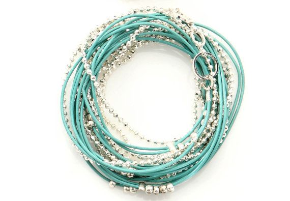 Turquoise and Silver Beads Leather Wrap Bracelet by NavaGlazer, $49.00