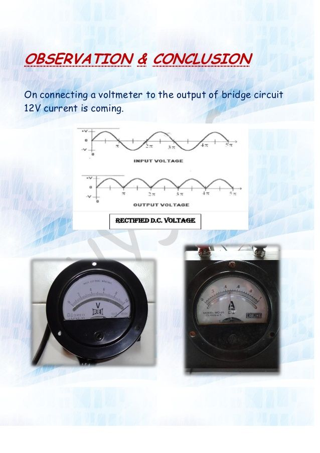Physics Investigatory Project On Rectifier Investigatory Project