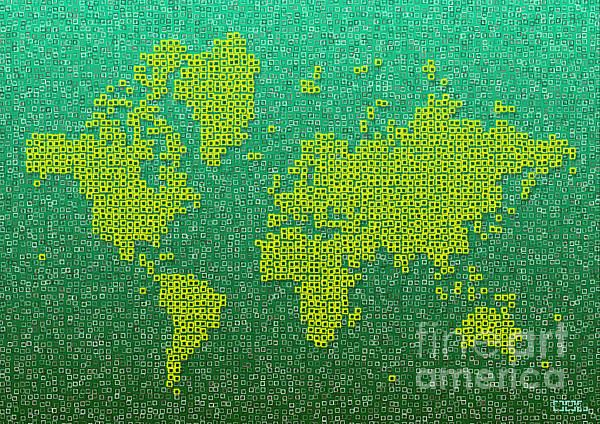 World Map Kotak In Green And Yellow by elevencorners. World map wall print decor. #elevencorners #mapkotak