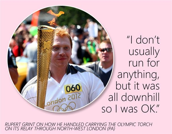 Haha!  Rupert Grint ran with the torch!  He is so lucky.