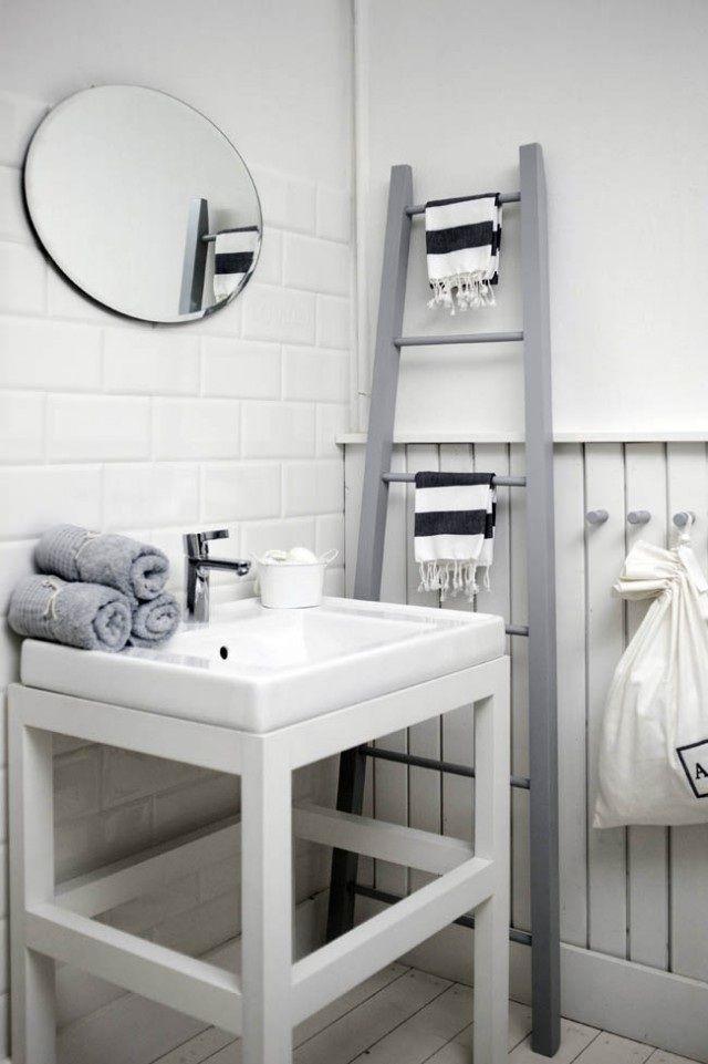 badezimmer gestalten ideen holz leiter waschtuchhalter