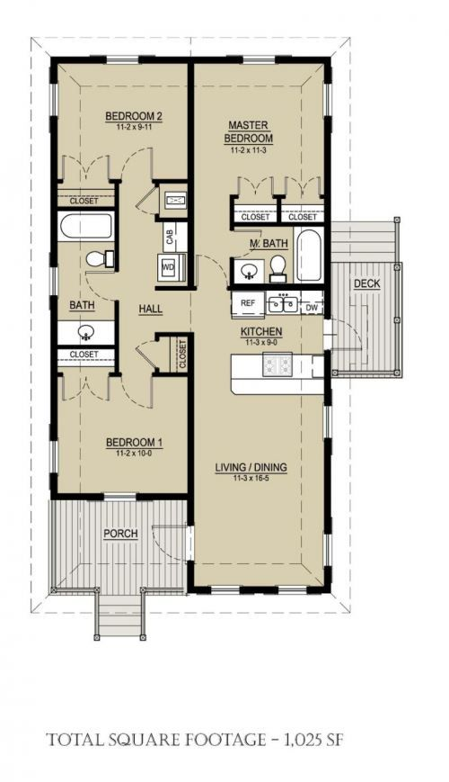 Katrina Cottage plan 536-3 -- floorplan - I kinda like this as a design for a Bach, except no porch - mayb connect the garage at that point. And make the deck bigger