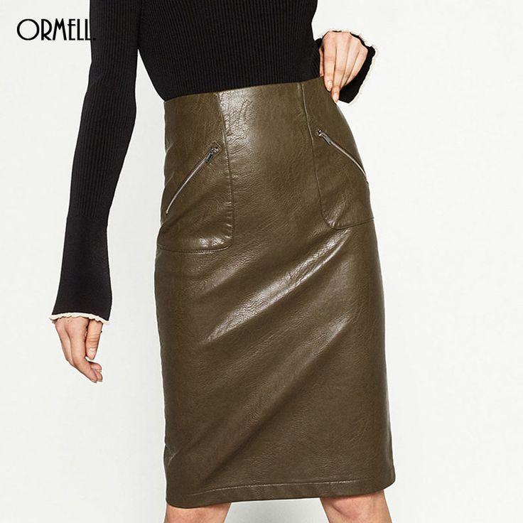 Faux PU Leather Straight #Skirt Fashion Sexy Zipper Pocket Back Split Buttons Casual Brand Design Skirts  #Womensfashion