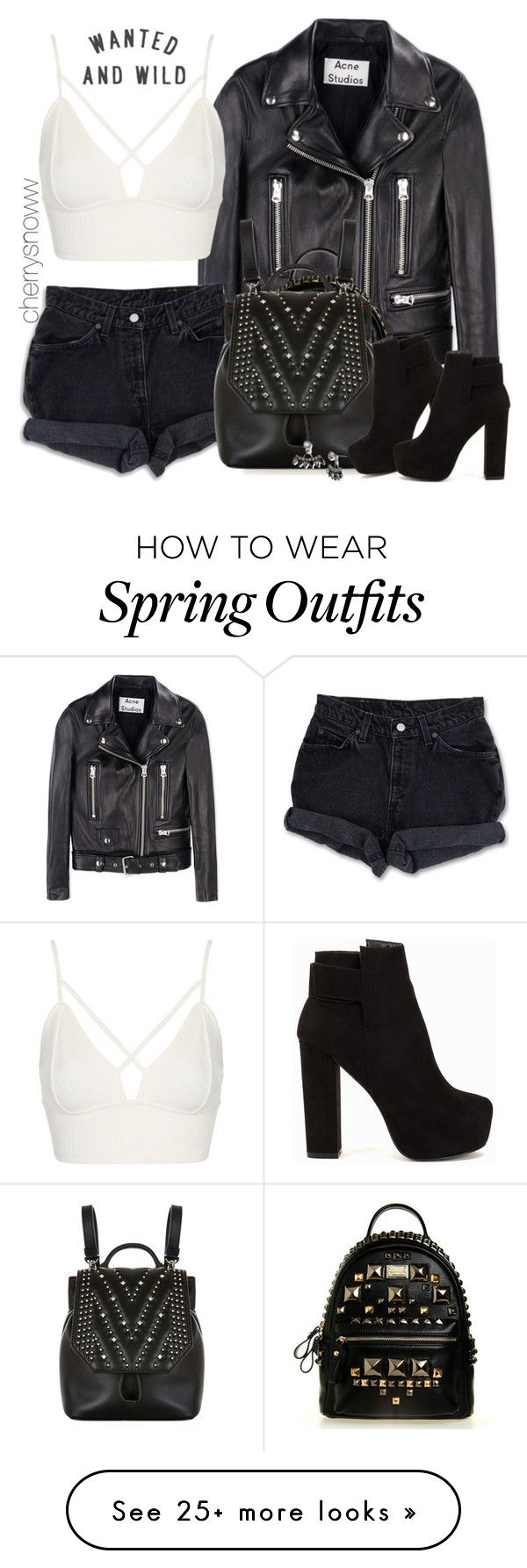 """Edgy biker chic spring outfit"" by cherrysnoww on Polyvore featuring Acne Studios, Levi's, Topshop, MCM, Nly Shoes and DANNIJO"