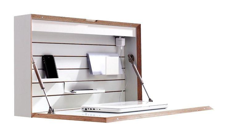 Opklapbaar kantoortje voor kleine huizen: netjes! Flatbox (Mueller Moebel Werkstatten)