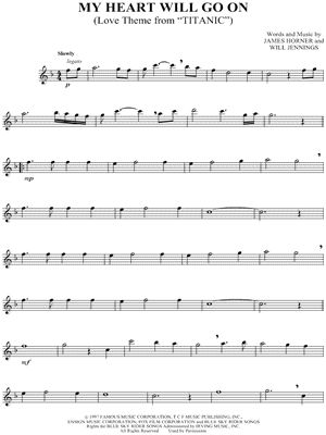 """Celine Dion """"My Heart Will Go On"""" Sheet Music (Flute Solo) - Download & Print"""