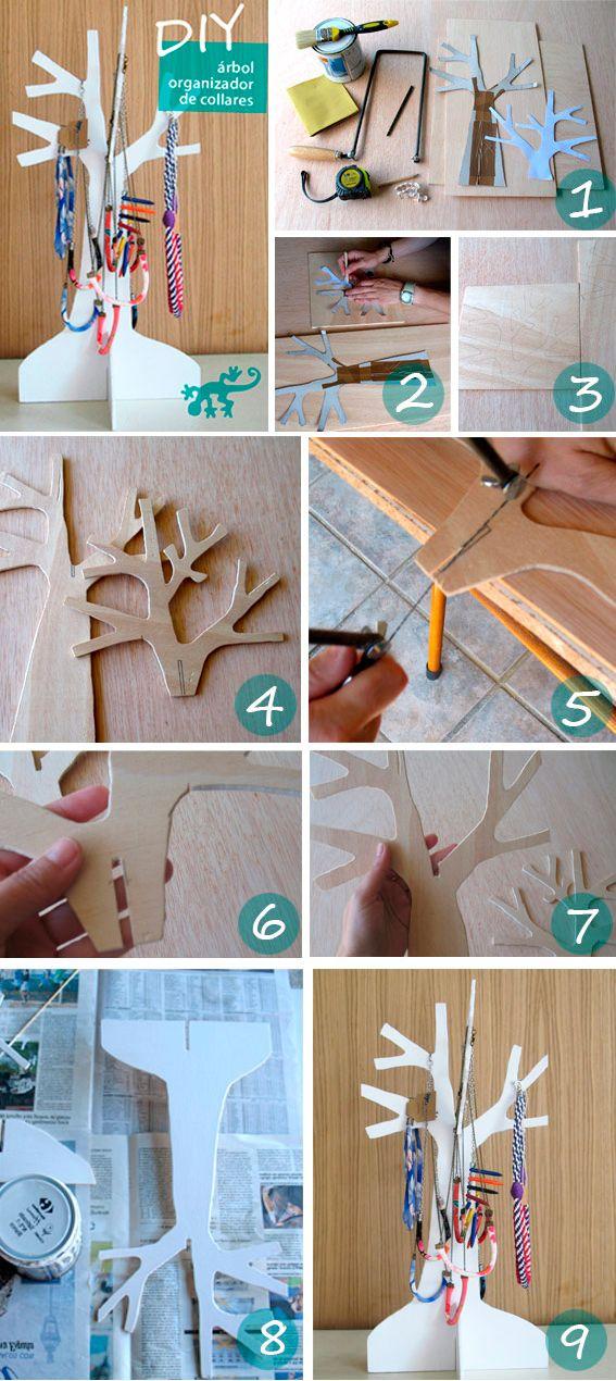 A tree for necklaces. La salamandra azul. Bisutería artesanal y complementos | Blog: diy/tutoriales