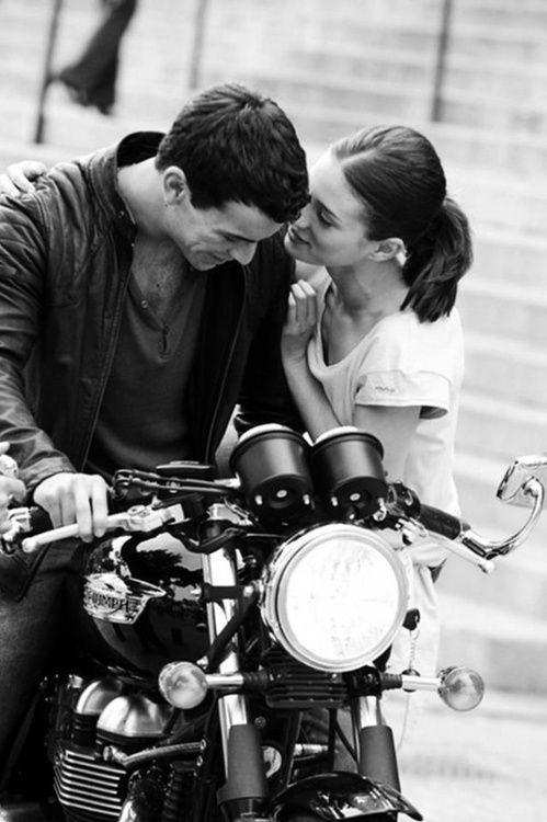 Girls like bike riders, - especially if they are on a Triumph.