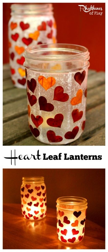These heart leaf lanterns make beautiful gifts that even kids can make. They can be filled with holiday treats and a candle and given as Christmas gifts. You can also make them and save them for Valentine's day. Don't wait… the red, orange and yellow fall leaves will be gone soon!