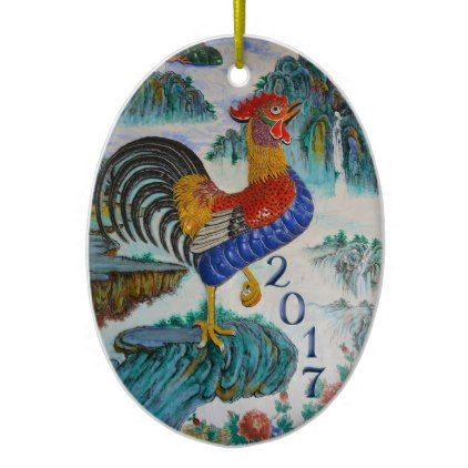 2017 Chinese Year of the Rooster Optional Photo Ceramic Ornament - family gifts love personalize gift ideas diy