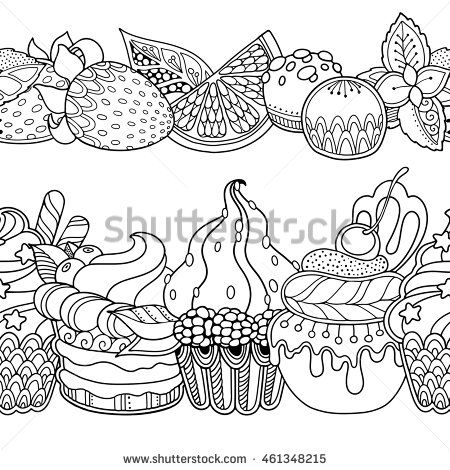 Seamless borders vector set in doodle style. Floral