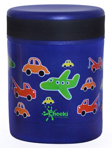 Cheeki Food Jar Traffic-This cute traffic themed Cheeki Food Jar is made out of a premium grade of Stainless Steel. Cheeki Food Jars are completely BPA-Free and achieve the high grade insulation by vacuum seals between the two walls. An insulated design means food will stay warm or cool for up to 5 hours.