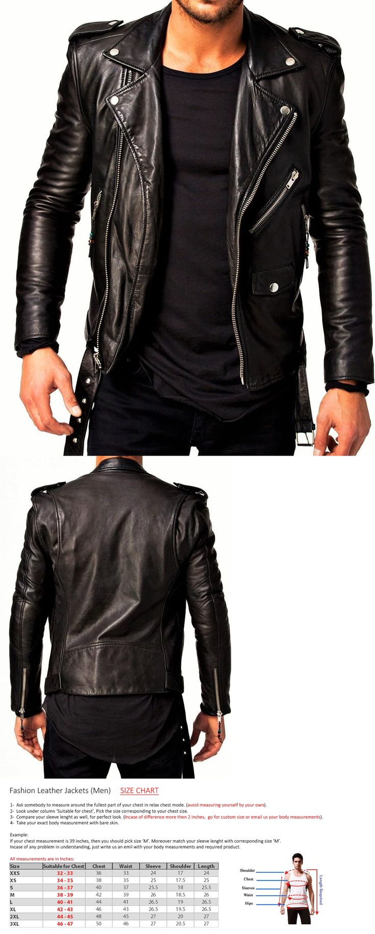Men Coats And Jackets: New Mens Leather Jacket Black Slim Fit Biker Motorcycle Genuine Lambskin -> BUY IT NOW ONLY: $80 on eBay!