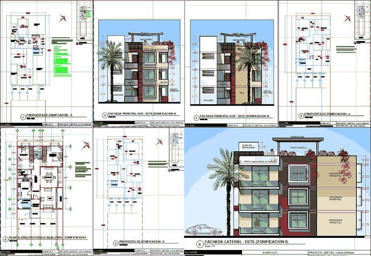 Planos de departamentos 3 niveles en dwg autocad vivienda for Edificio de departamentos planos