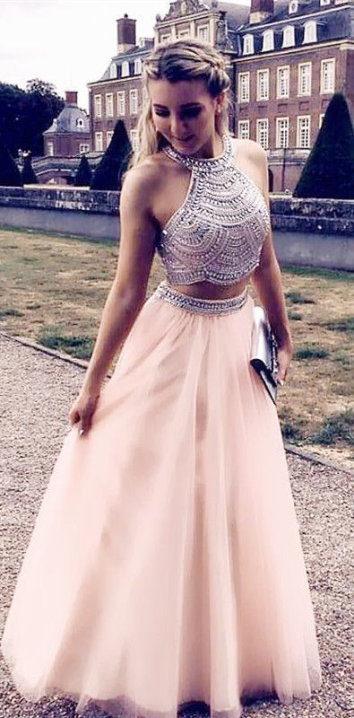 Two Piece Prom Dresses Pink Long Formal Dresses Tulle Evening Dress Formal Gowns G4812 2