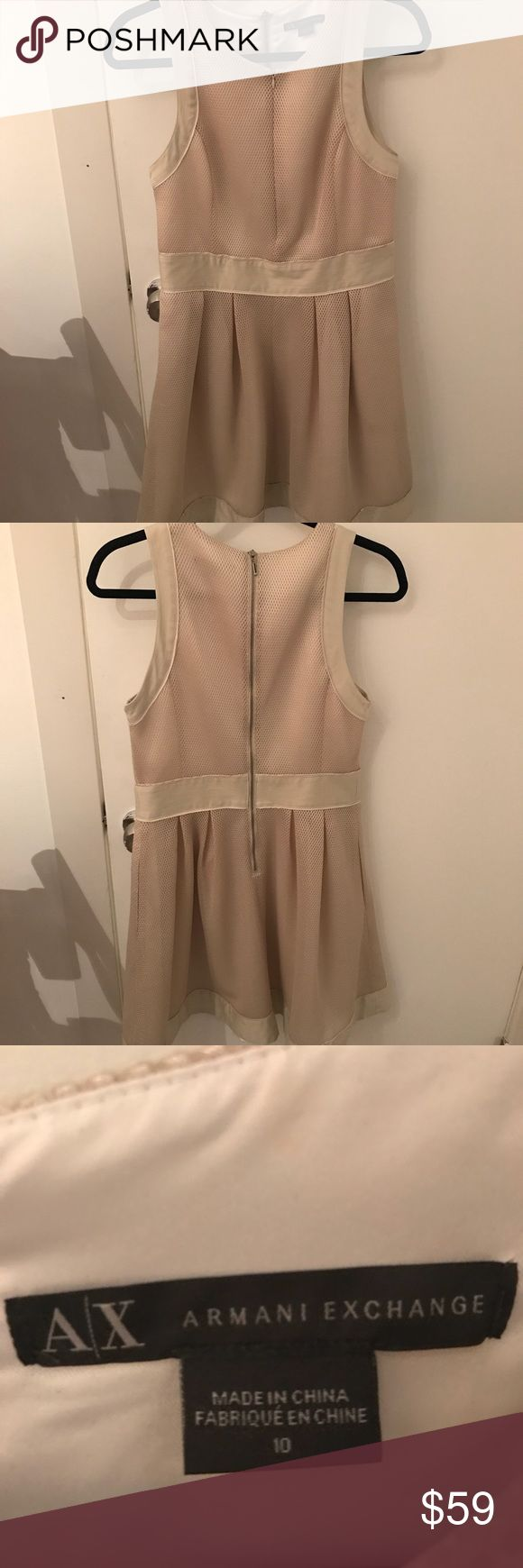 A/X Armani Exchange fit and flare dress New, never worn WOT dress. Gorgeous metallic light gold, with zippers down the front and back. A/X Armani Exchange Dresses