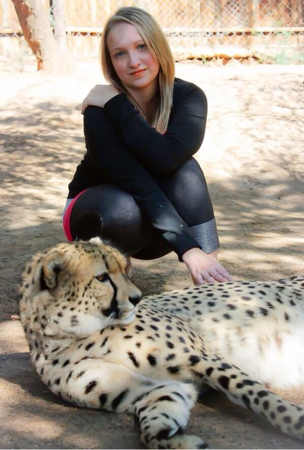 Twitter: @Celia Fitzgerald A pic with a cheetah at Kango Wildlife Reserve #SouthAfrica #travel #love #wildlife #happiness :)
