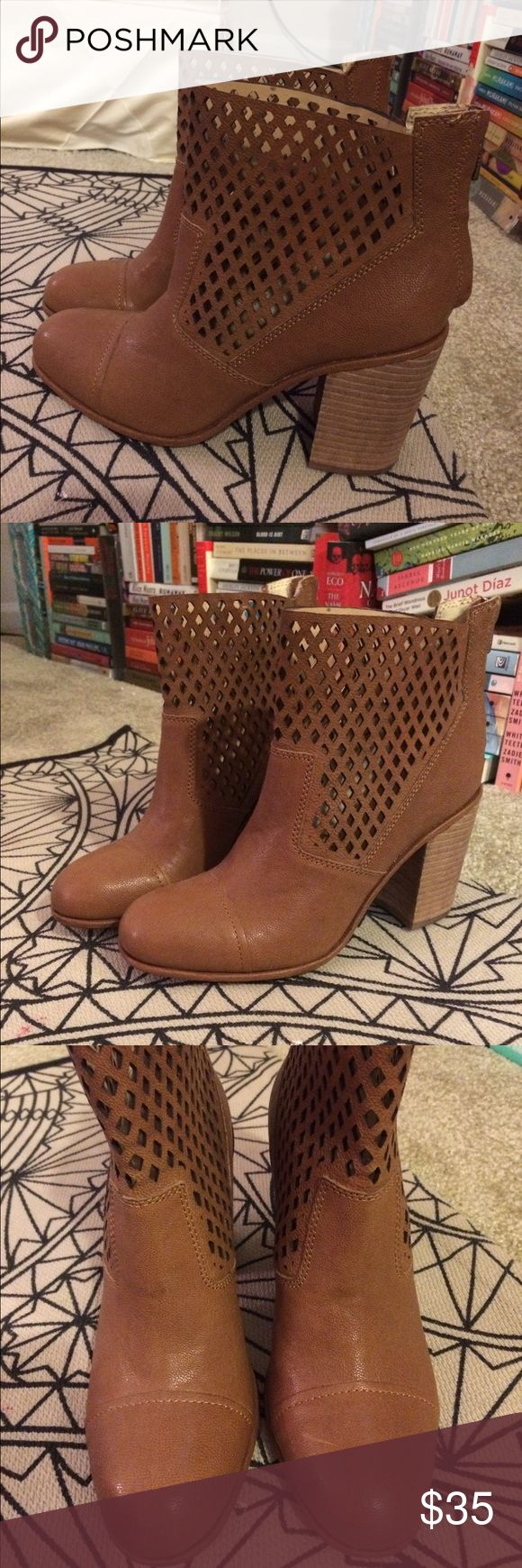 Calvin Klein Jeans tan leather booties -sz 8 Cute leather boots with a chunky heel. Never worn, perfect condition! Size 8 Calvin Klein Jeans Shoes Ankle Boots & Booties