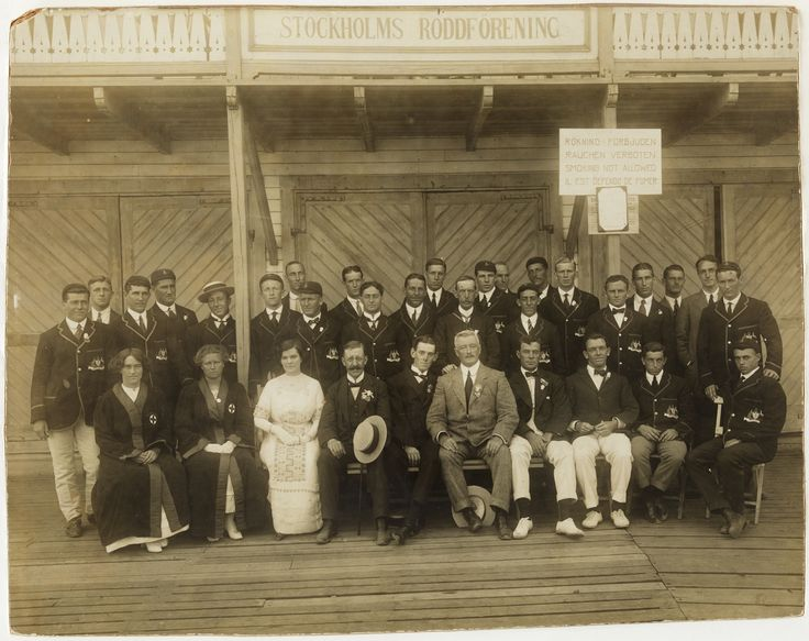 The Australasian Olympic Team at the Stockholm Rowing Association. Olympic Games, Stockholm, 1912. State Library of New South Wales: http://www.acmssearch.sl.nsw.gov.au/search/itemDetailPaged.cgi?itemID=826011