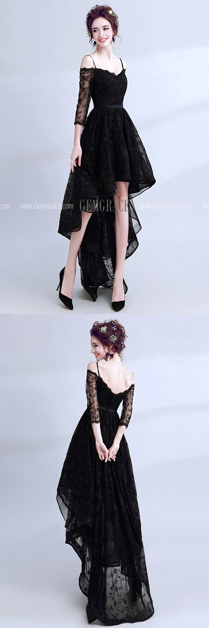 High Low Black Lace Prom Dress Sleeved With Spaghetti ...