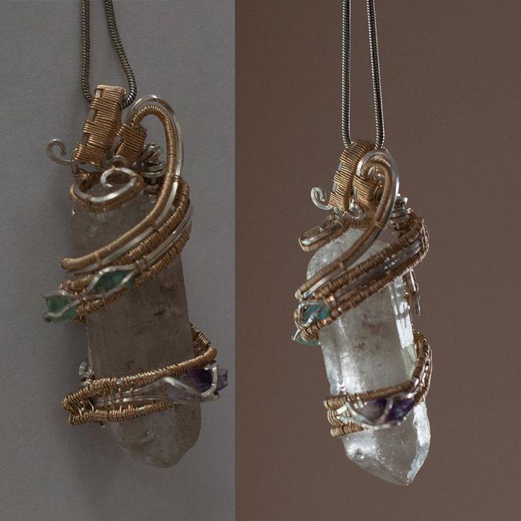 The Swirler's Key - Silver + Gold Fill Quartz wrap + gem band including 2x green beryl +Amethyst  #amethyst #greenberyl #quartz #silver #Gold #wirewrap
