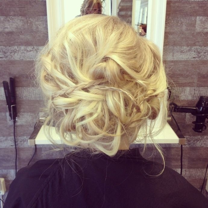 prom messy bun updo braids blonde hair | Beauty ...