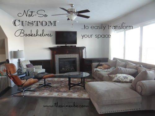 Easily Transform your Space with Not-So Custom Bookshelves! http://www.thewineabe.com/2013/11/not-so-custom-bookshelves.html