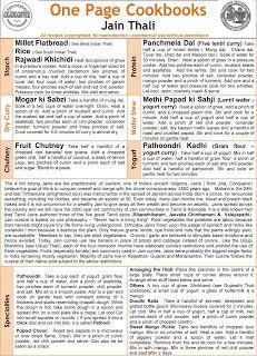 One Page Cookbooks: Jain Thali - From Indian Veg Thali Cookbook
