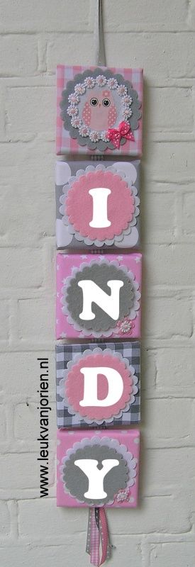naamslinger Indy, uil roze/grijs