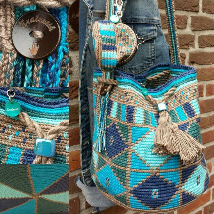Mochila bag turquoise brown www.kralentik.nl
