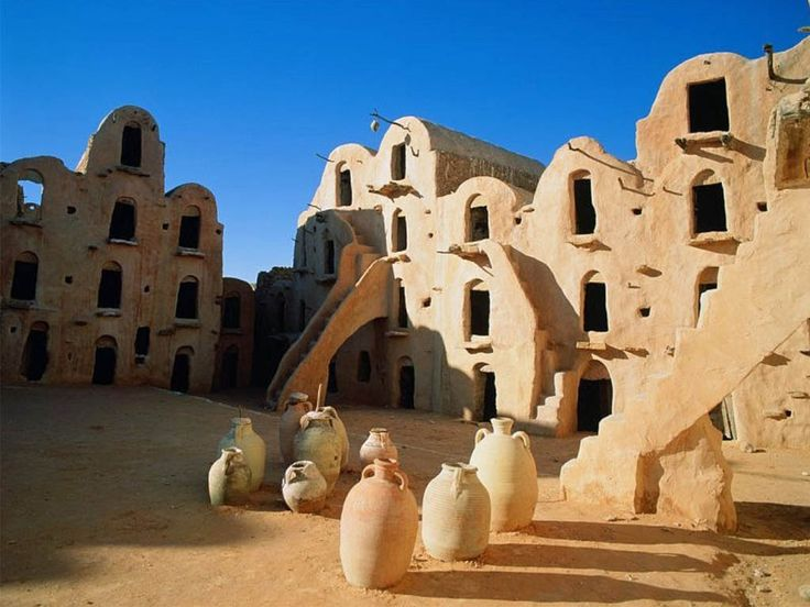 Tataouine Tunisia - the place George Lucas based Tatooine off of (see http://starwars.wikia.com/wiki/Tataouine )